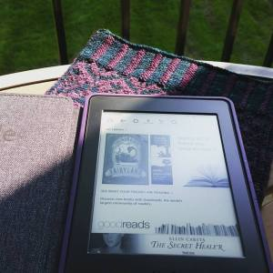 I may be inordinately pleased that my Kindle case matches the knitted cozy a friend made me :).